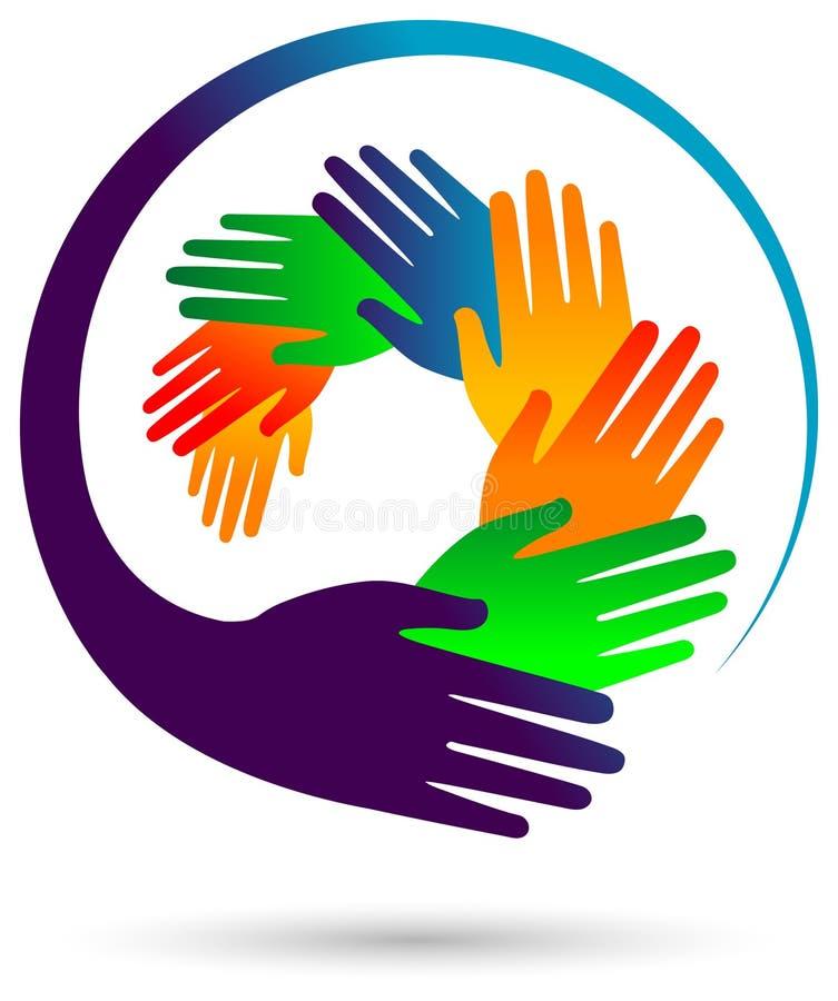 Imagen redonda del vector de las manos coloridas ilustración del vector