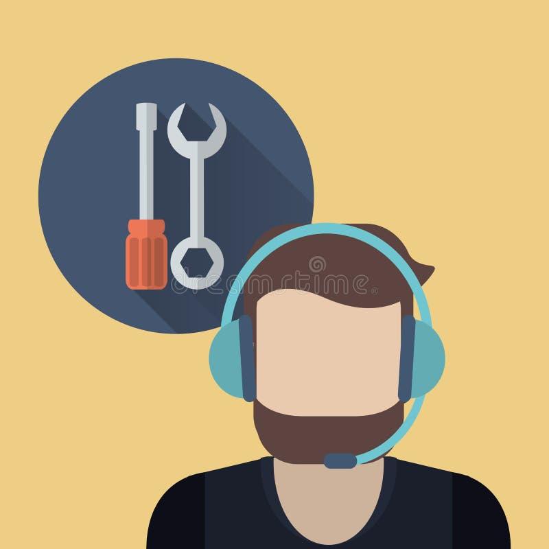 imagen relacionada en línea de los iconos de la ayuda o del centro de atención telefónica libre illustration
