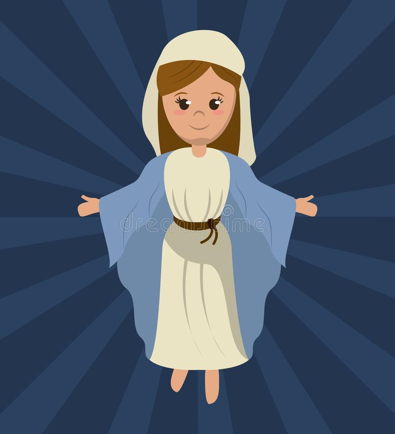 Imagen religiosa santa de la Virgen María stock de ilustración