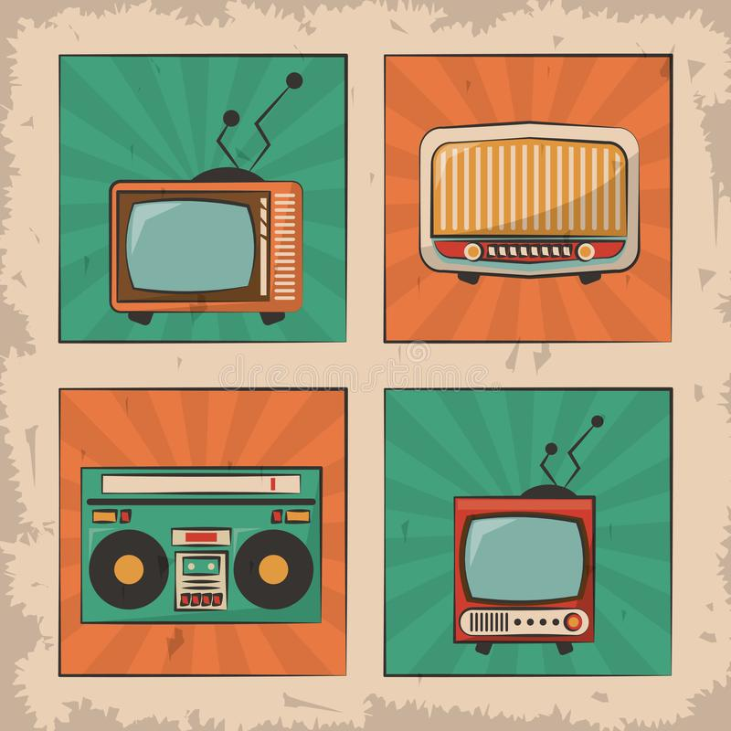 Imagen retra de radio del dispositivo del vintage TV libre illustration