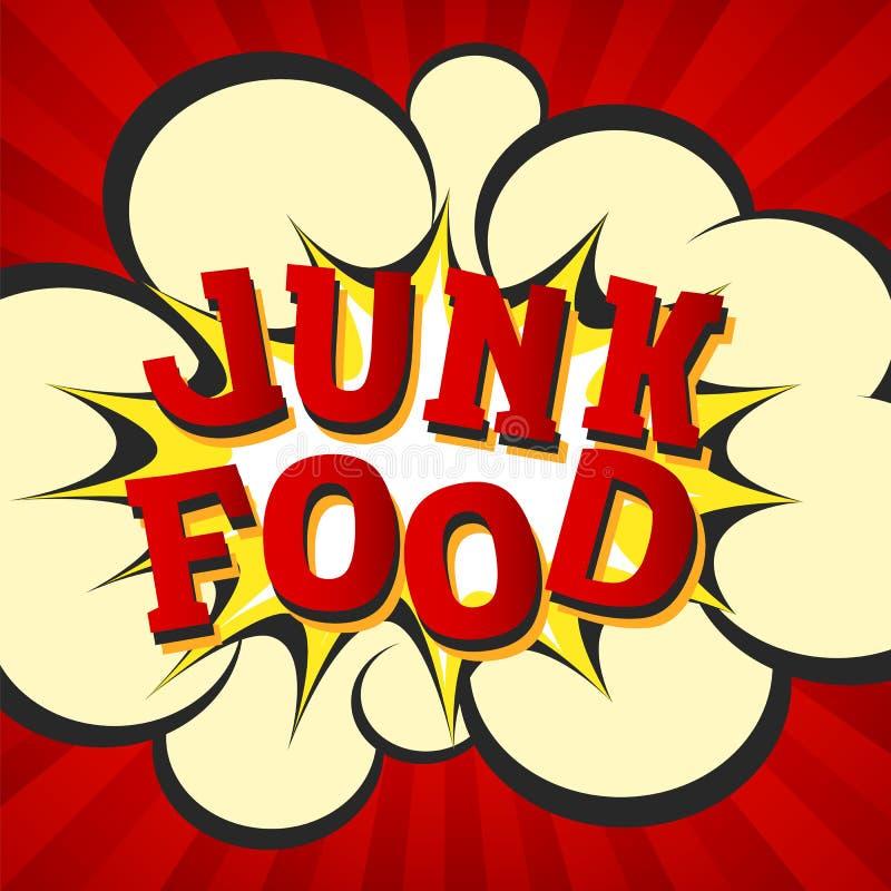 Imagen retra del estilo de Junk Food La explosión cómica de la historieta con hypno irradia el fondo El ejemplo del vector para l libre illustration