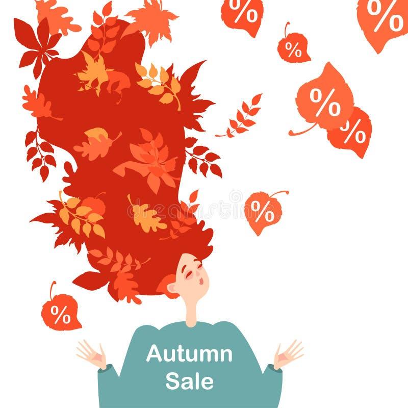 Imagen simbólica de la venta del otoño Caída de la hoja Ejemplo de una muchacha pelirroja feliz libre illustration