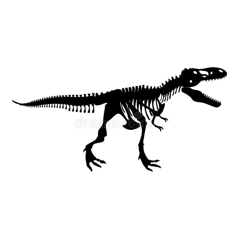 Imagen simple T del rex del dinosaurio del icono del negro de color del estilo plano esquelético del ejemplo stock de ilustración