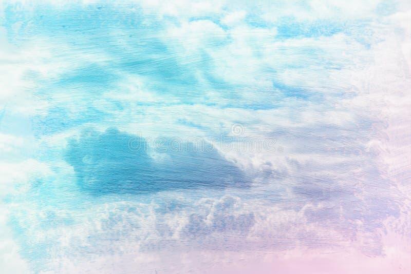 imagen soñadora y abstracta del cielo azul con las nubes blancas efecto de la exposición doble con textura del movimiento del cep imágenes de archivo libres de regalías