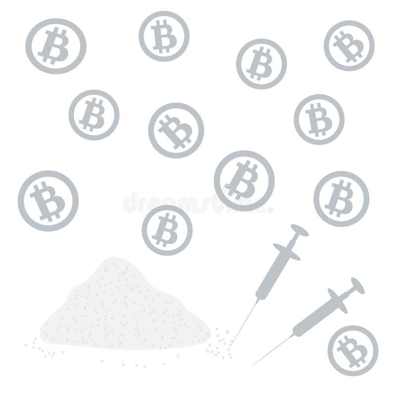 Imagen sobre transacciones en bitcoin: bitcoins y drogas stock de ilustración