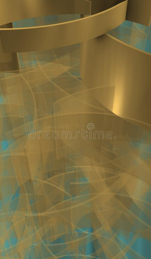 Waves in technological Space with shadows. Imagen of technological space with organizer silver cubes over bright background stock illustration