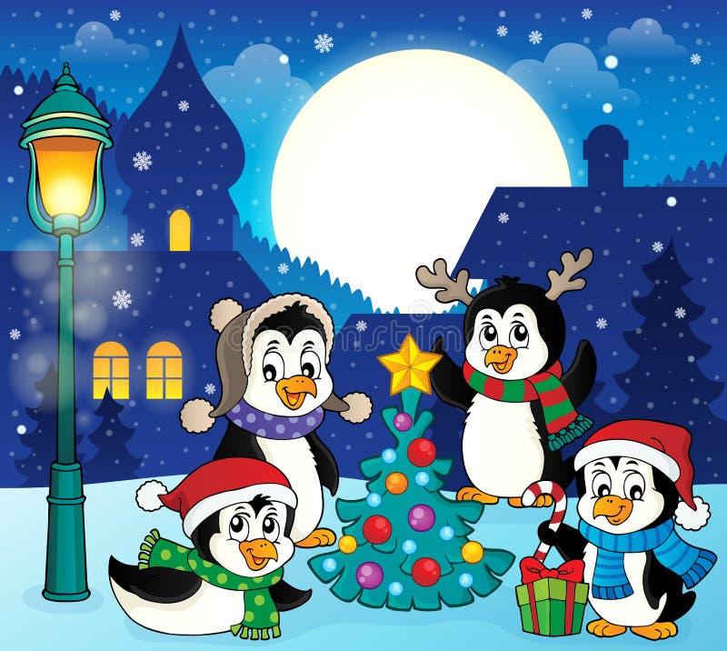 Imagen temática 5 de los pingüinos de la Navidad stock de ilustración