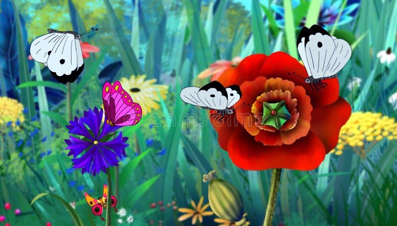 Imagen a todo color de la mariposa blanca y de la flor roja libre illustration