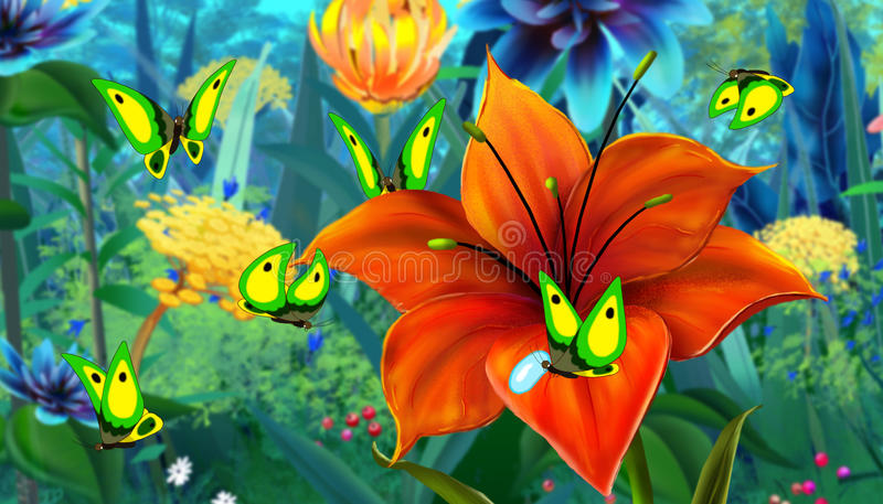 Imagen a todo color de la mariposa verde y de la flor roja ilustración del vector