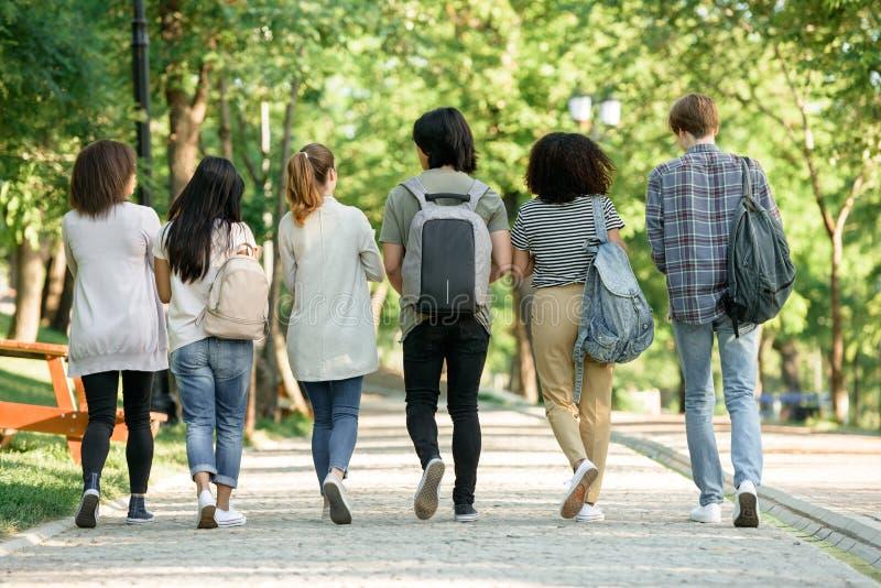Imagen trasera de la visión del grupo multiétnico de estudiantes jovenes fotos de archivo libres de regalías