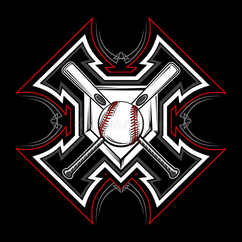 Imagen tribal del vector del béisbol/del beísbol con pelota blanda ilustración del vector
