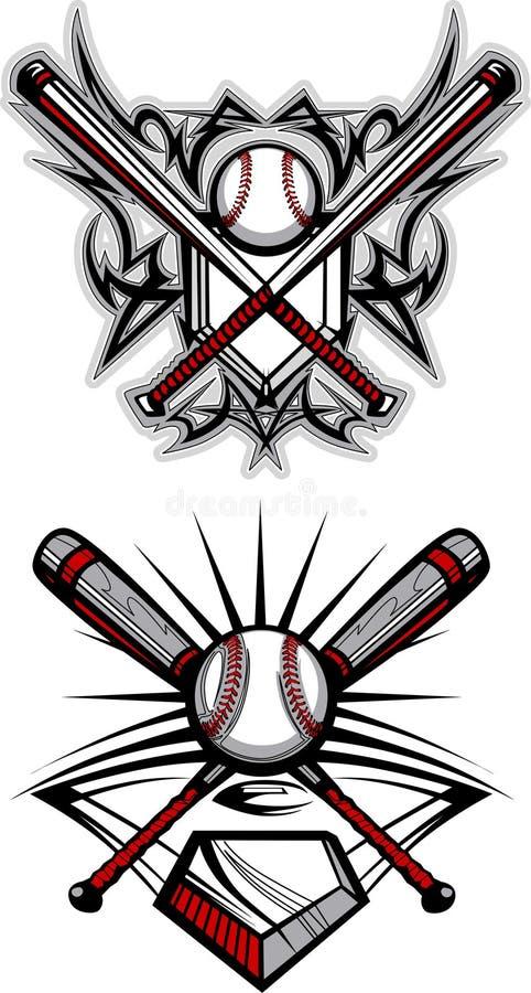Imagen tribal del vector del béisbol/del beísbol con pelota blanda stock de ilustración