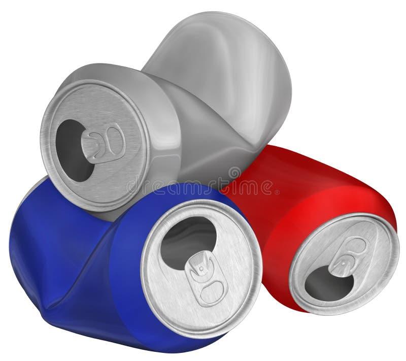 Imagen tridimensional de latas de aluminio arrugadas. fotografía de archivo libre de regalías