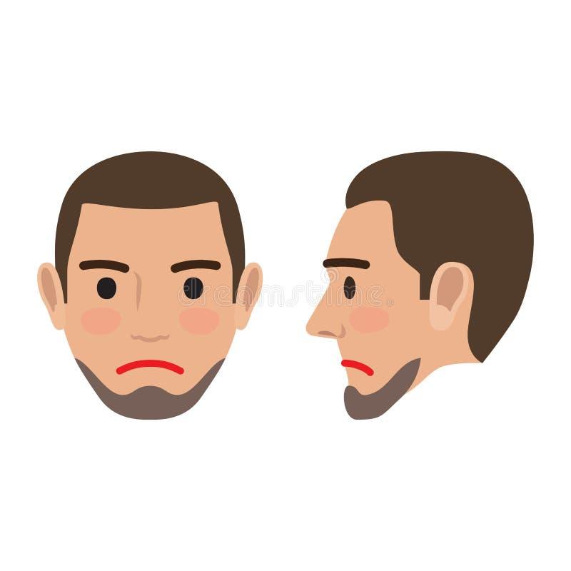 Imagen triste del usuario de Avatar del hombre Opinión de cabeza delantera y lateral ilustración del vector