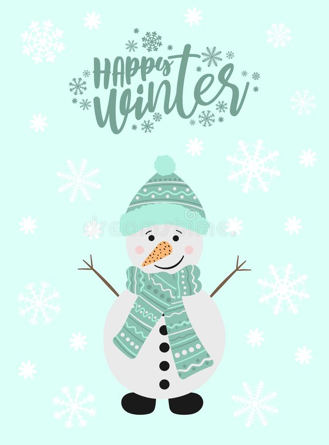 Imagen vectorial de un muñeco de nieve de la historieta en un sombrero y una bufanda Ejemplo del Año Nuevo y de la Navidad del in libre illustration