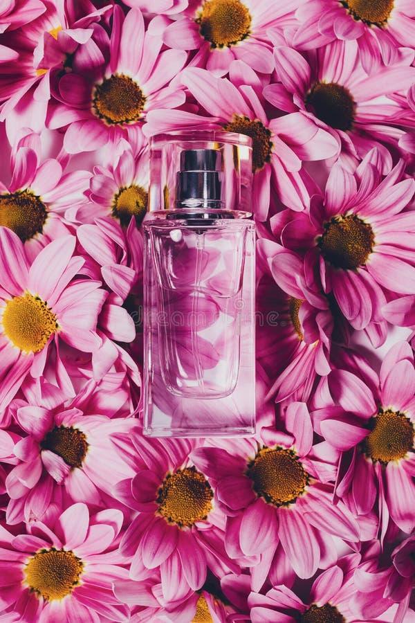 Imagen vertical de la botella de perfume transparente foto de archivo libre de regalías