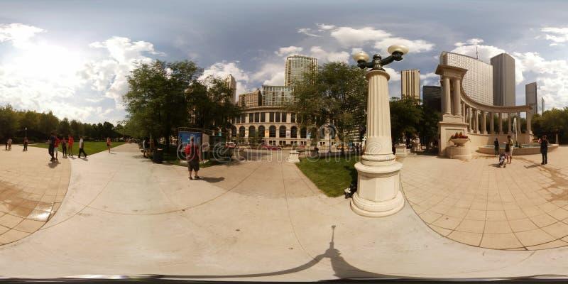 imagen 360vr del monumento del milenio en el cuadrado de Wrigley fotografía de archivo libre de regalías
