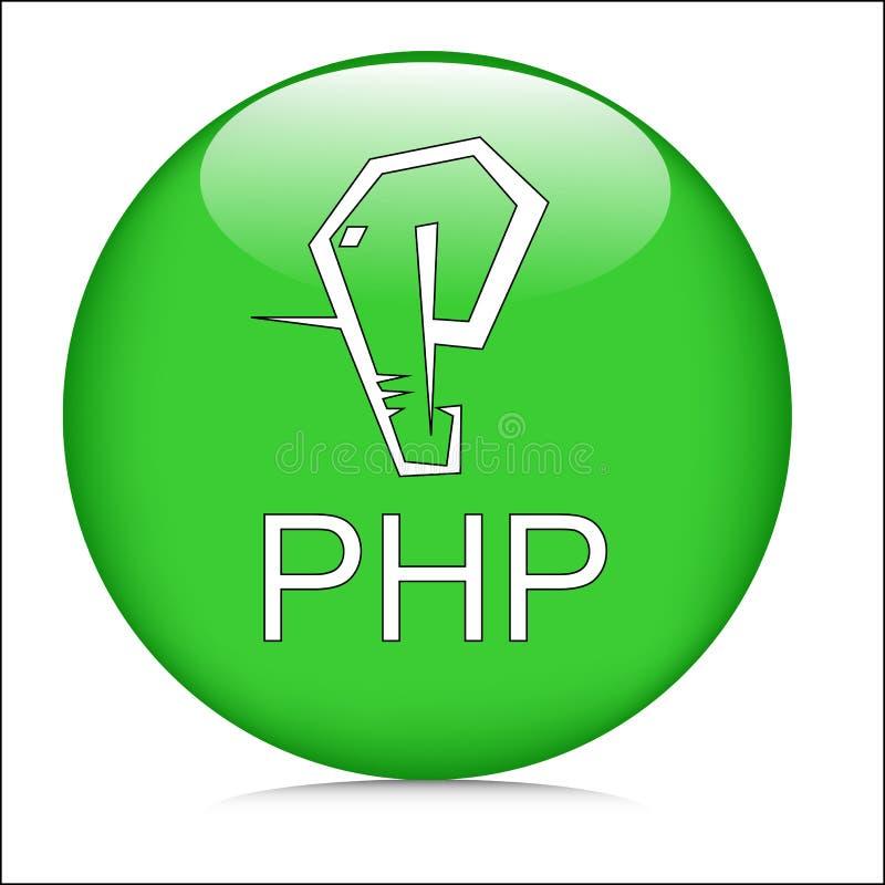 Imagen y vector del logotipo del símbolo de Crystal Button del verde de la lengua del PHP ilustración del vector