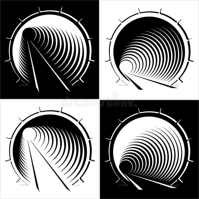 Imagens abstratas do túnel na montanha ilustração royalty free