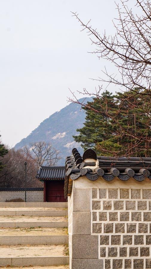Imagens bonitas da paisagem no palácio Seoul de Gyeongbok, Coreia do Sul fotografia de stock royalty free
