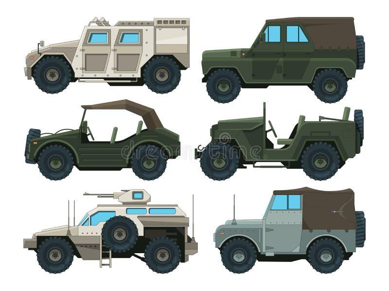Imagens coloridas de veículos pesados militares ilustração stock