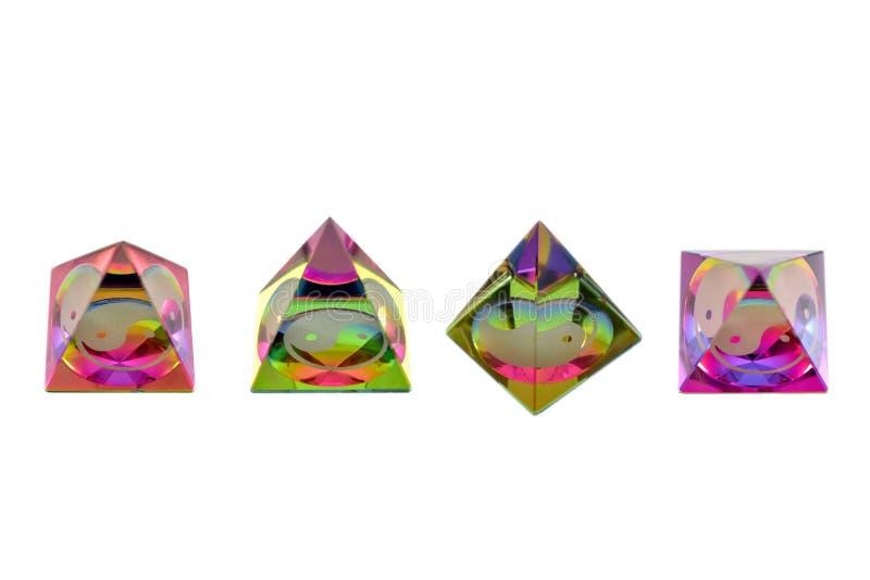 Imagens coloridas vidro do estoque da pirâmide de Yin yang imagem de stock