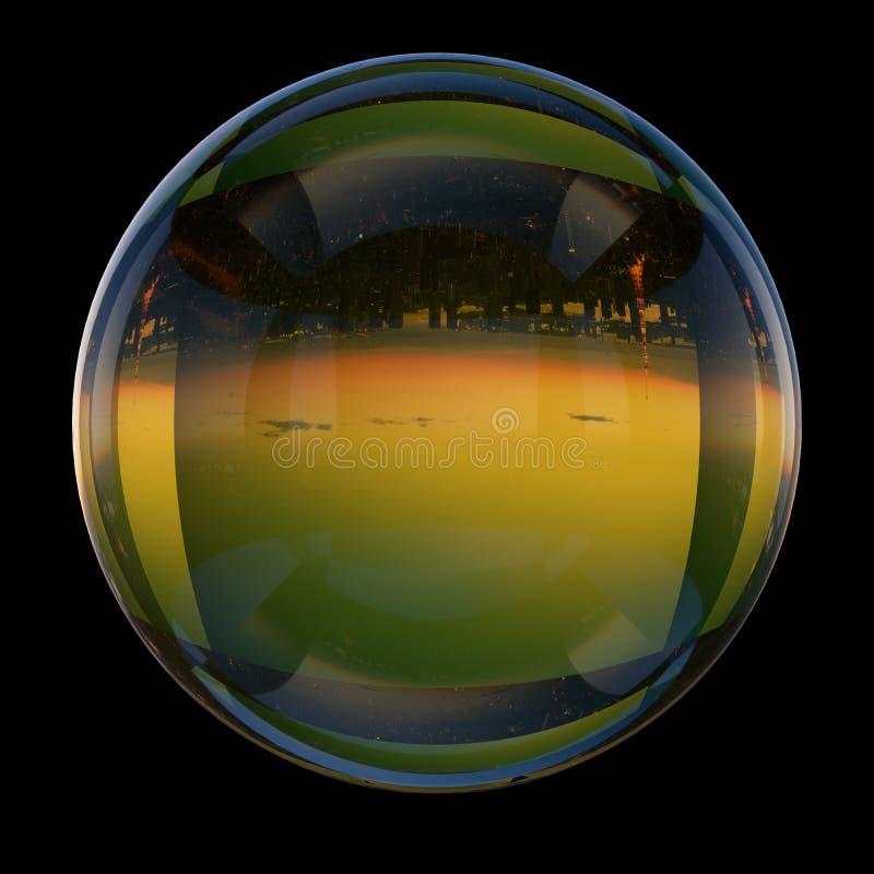 Imagens da paisagem da cidade do Tóquio traçada às esferas de vidro ilustração royalty free