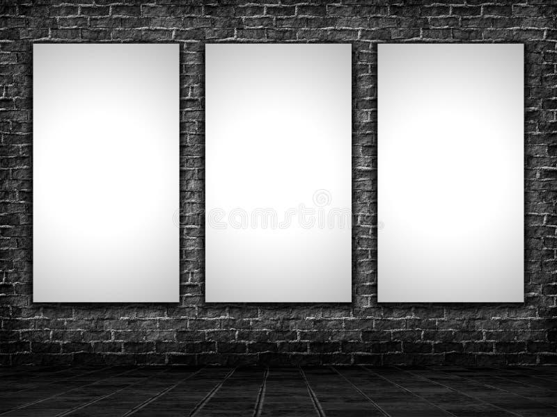 imagens da placa 3D em um interior do grunge ilustração royalty free