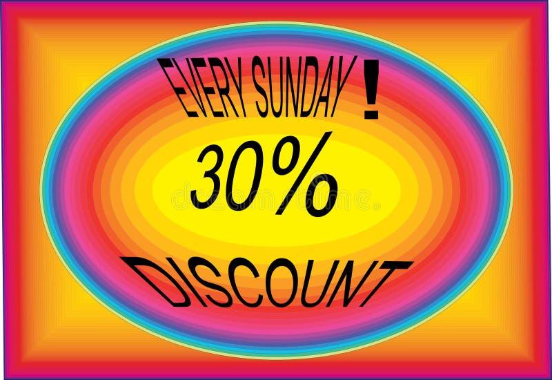 Imagens de cada ícone do botão do logotipo do collorfull do disconto 30% de domingo ilustração do vetor