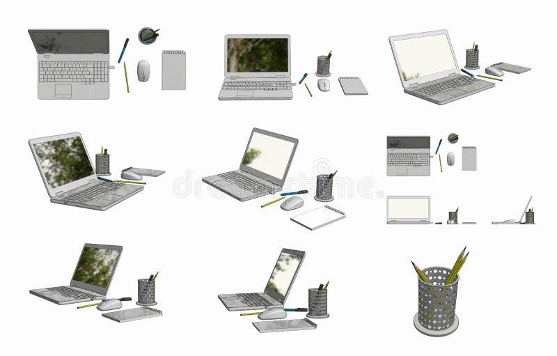 imagens de 3D CAD do laptop, do rato, do bloco de notas, do potenciômetro, da pena, e do lápis imagem de stock royalty free