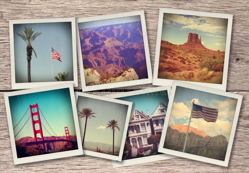 Imagens de EUA ocidentais - colagem no fundo de madeira feito como fotos imediatas da câmera velha fotografia de stock