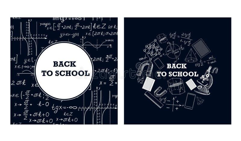 Imagens de ferramentas educacionais e de fórmulas em uma placa de giz ilustração royalty free