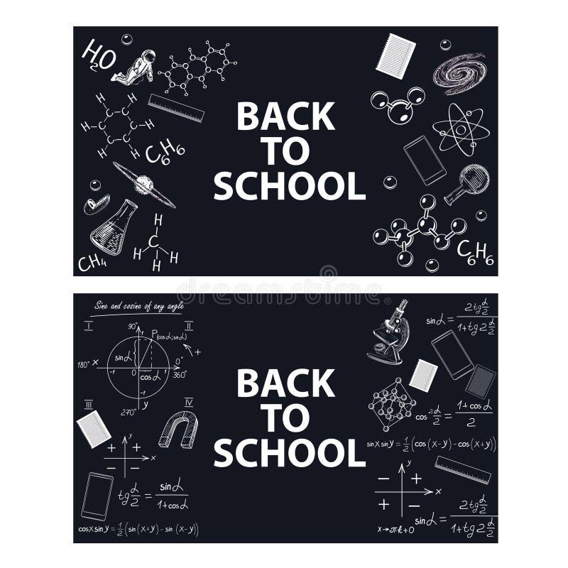 Imagens de ferramentas educacionais e de fórmulas em uma placa de giz ilustração stock