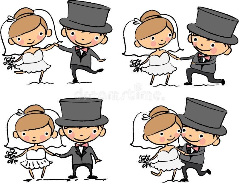 Imagens do casamento dos desenhos animados ilustração royalty free