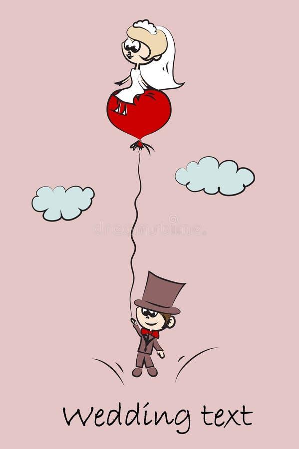 Imagens do casamento dos desenhos animados, vetor ilustração stock
