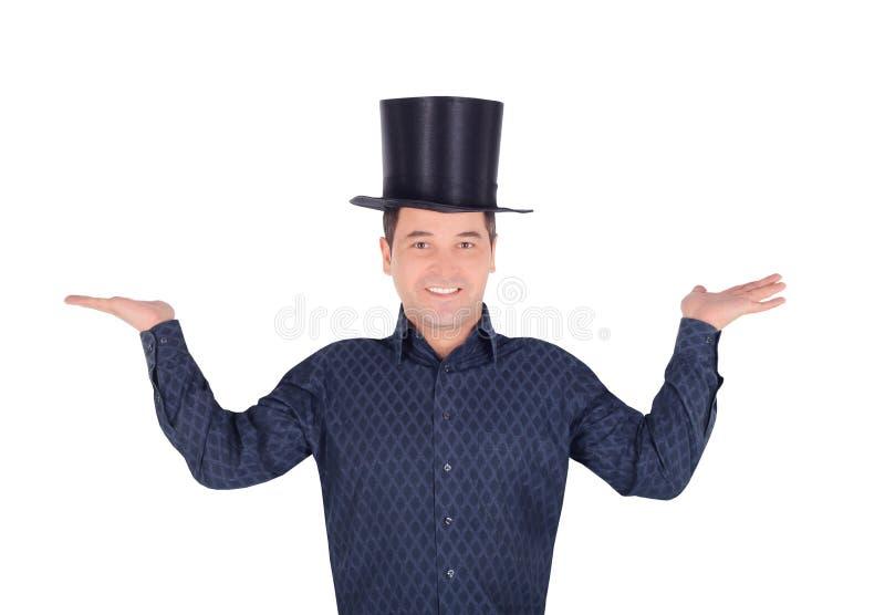 Imagens do homem alegre no cilindro do chapéu alto imagem de stock