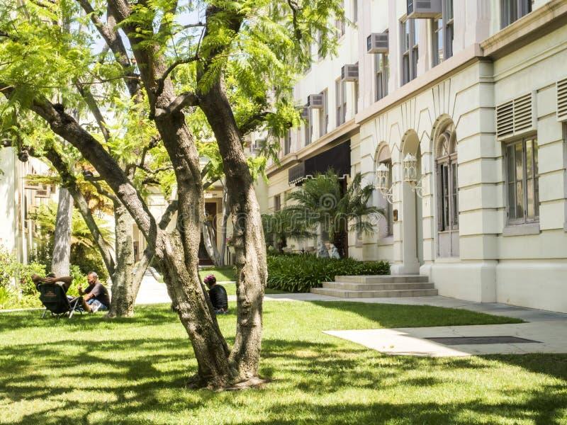 Imagens dos estúdios de Paramount, casa de Lubitsch e jardim dianteiro, excursão no 14 de agosto de 2017 - Los Angeles de Hollywo imagem de stock