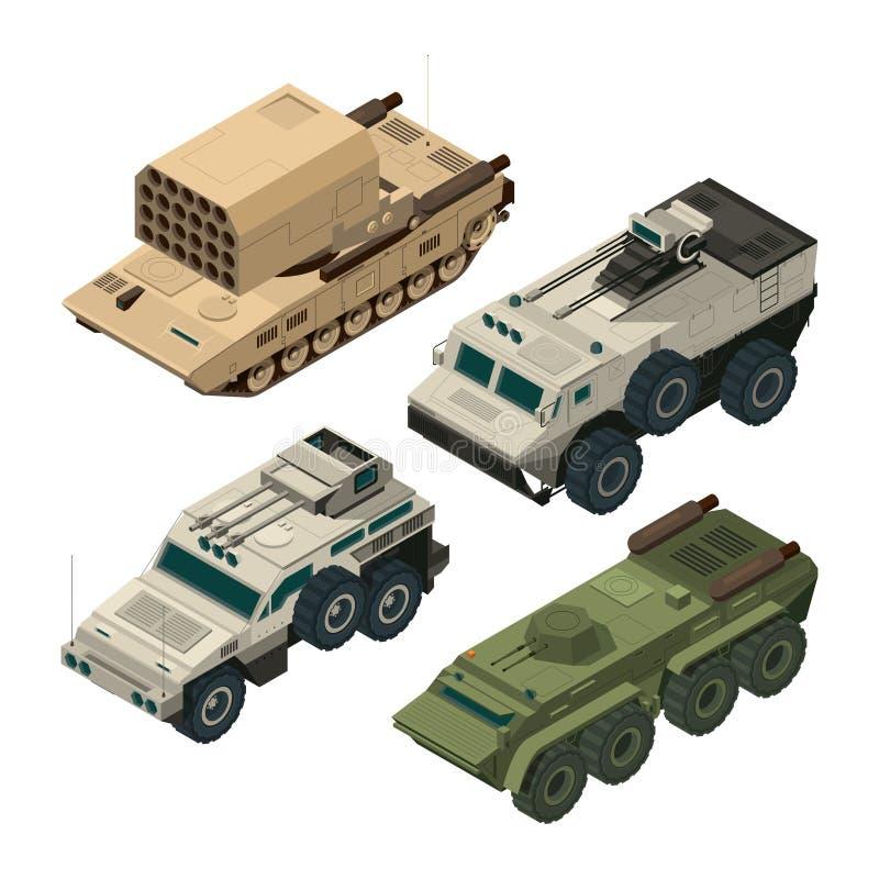 Imagens isométricas de veículos pesados do exército Imagens do vetor ajustadas ilustração stock