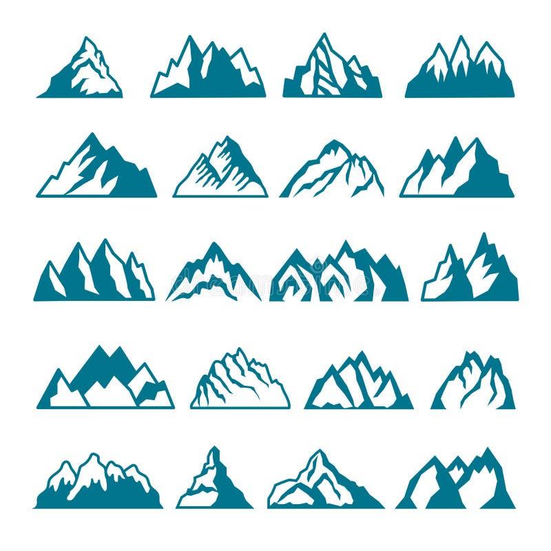 Imagens monocromáticas ajustadas de montanhas diferentes Coleções do vetor para o projeto das etiquetas ilustração royalty free