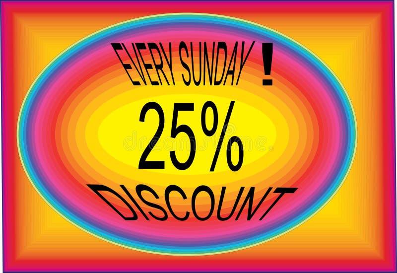 Imagens multidesing de cada ícone do botão do logotipo da oferta 25% de domingo ilustração do vetor