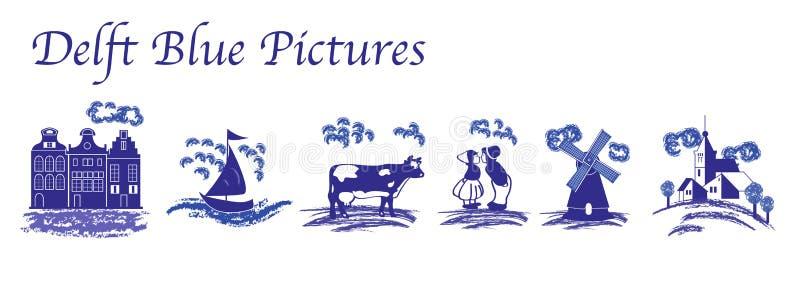 Imagens populares azuis da louça de Delft ilustração royalty free