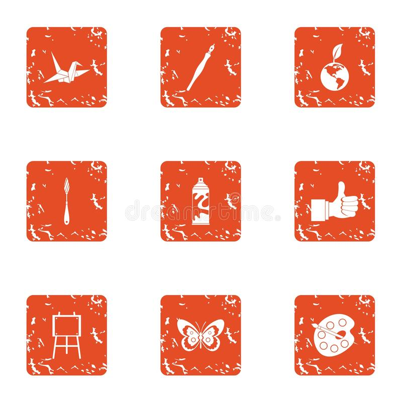 Imagery icons set, grunge style stock illustration