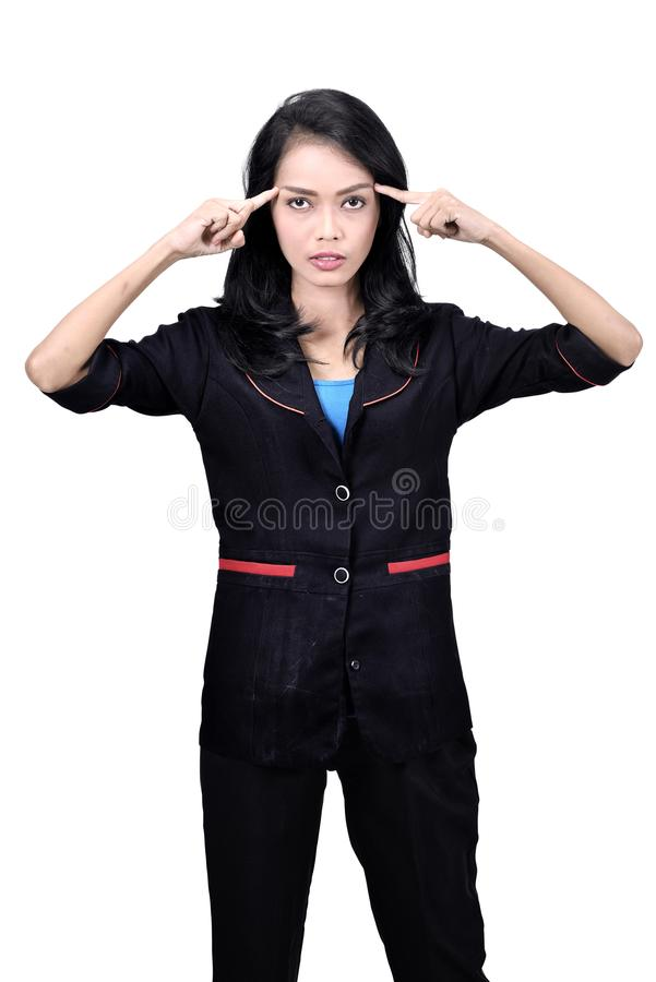 Images of asian business woman think something stock image