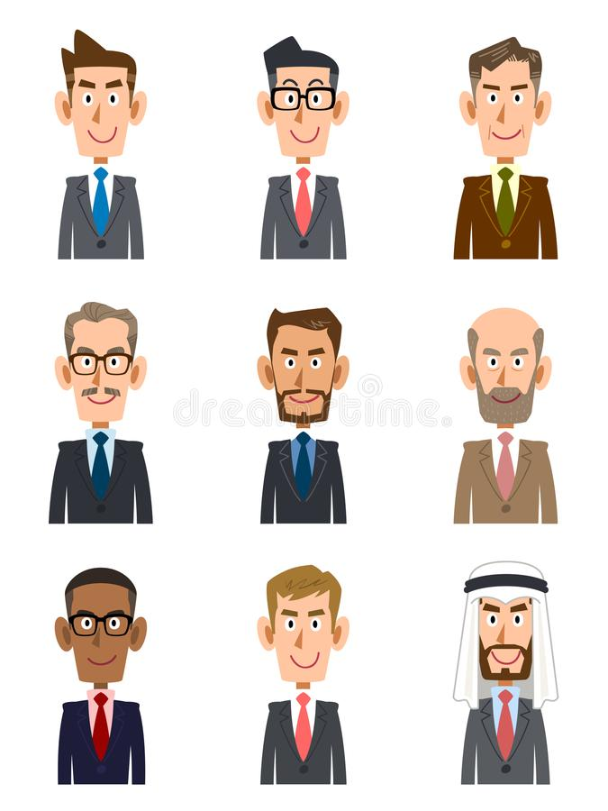 Businessman of various countries and various ages. The images of Businessman of various countries and races, and ages stock illustration