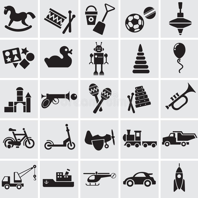 25 images of childrens toys. 20 black vector images of childrens toys on a grey background vector illustration