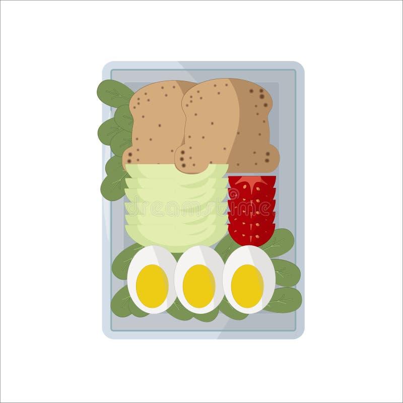 Images d'isolement de nourriture de vecteur Tranches végétales d'un plat rectangulaire blanc Tranche de pain, avocat coupé en tra illustration de vecteur