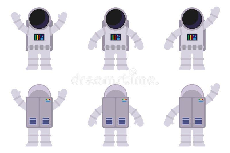 Images d'isolement d'un astronaute dans différentes poses, de l'avant et du dos Illustration plate de vecteur illustration stock