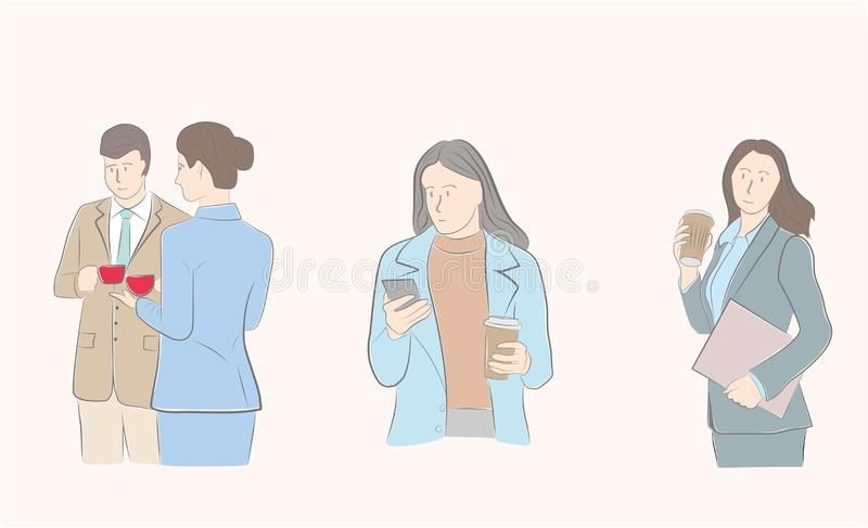 Images de café potable de personnes Gens d'affaires Croissant doux et une cuvette de café à l'arrière-plan Illustration de vecteu illustration libre de droits