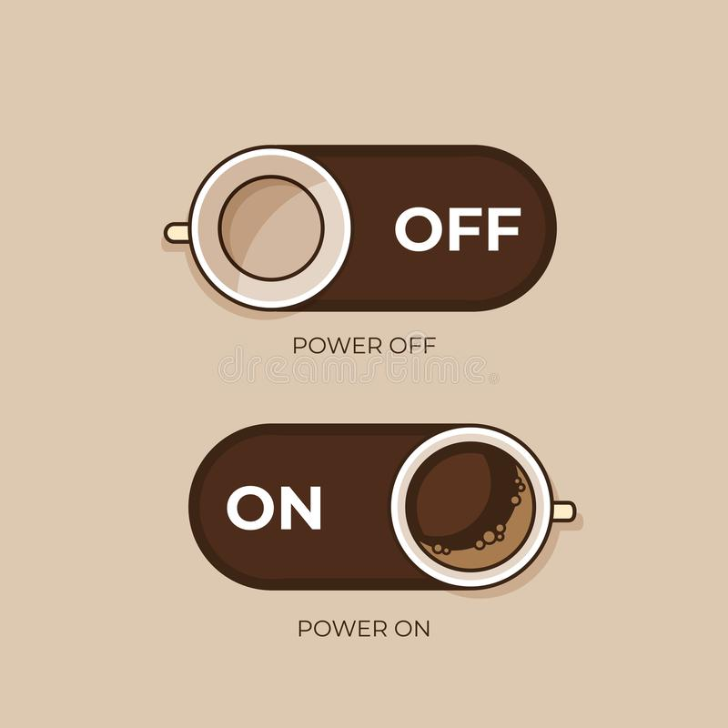 images de concept de collections de café Café et sur outre du commutateur Le style plat, dirigent la défectuosité illustration libre de droits