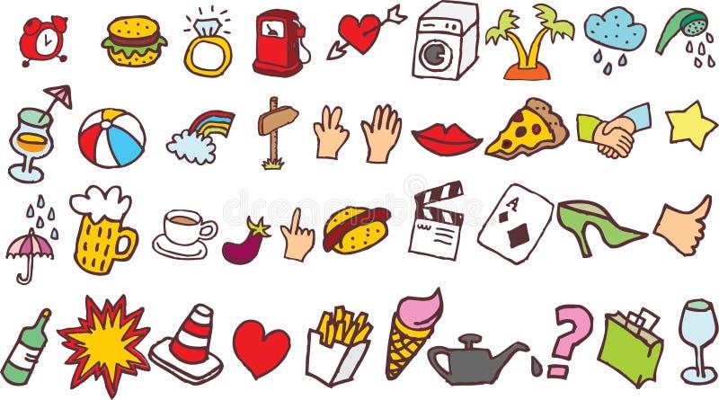 Images de vecteur des griffonnages comportant les objets et le foodon le Blackground blanc illustration stock